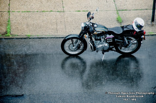 motorcycle in rain